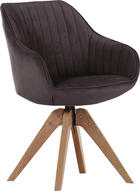 STUHL Flachgewebe Braun - Eichefarben/Braun, Design, Holz/Textil (60/83/65cm) - Hom`in