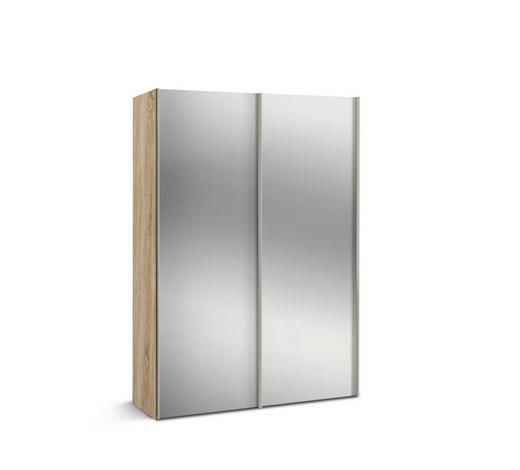 SCHWEBETÜRENSCHRANK 2-türig Sonoma Eiche  - Alufarben/Sonoma Eiche, KONVENTIONELL, Glas/Holzwerkstoff (150/216/48cm) - Hom`in