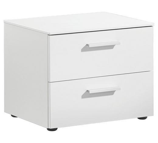 NACHTKÄSTCHEN matt, lackiert Weiß  - Alufarben/Weiß, Design (50/41/41cm) - Xora