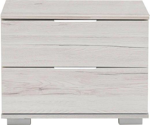 NACHTKÄSTCHEN in Weiß, Eichefarben - Eichefarben/Alufarben, Design, Holzwerkstoff/Kunststoff (52 40 38cm) - Carryhome