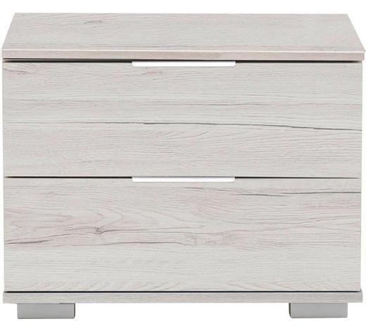 NACHTKÄSTCHEN in Weiß, Eichefarben  - Eichefarben/Alufarben, Design, Holzwerkstoff/Kunststoff (52/40/38cm) - Carryhome