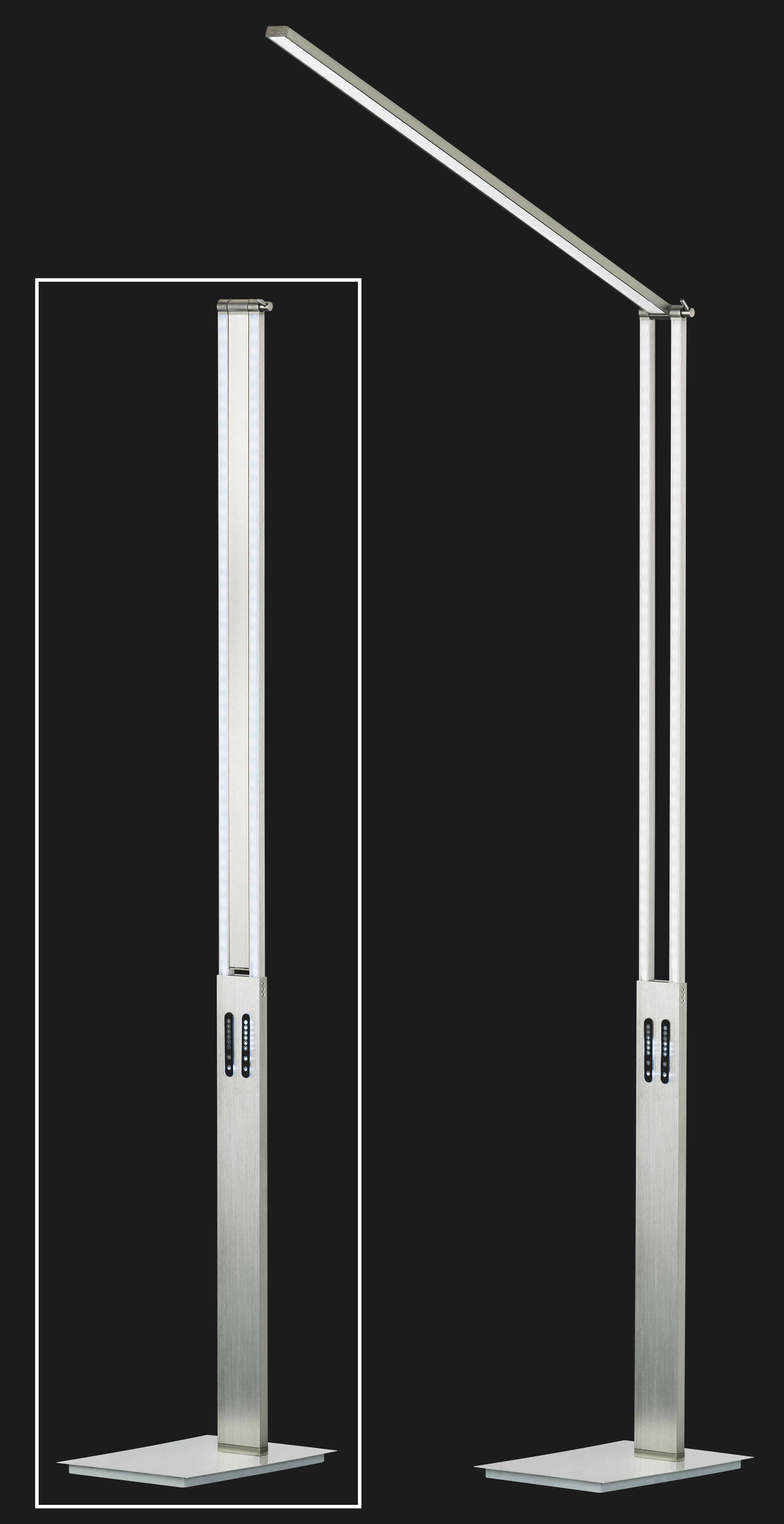 LED-STEHLEUCHTE - Nickelfarben, Design, Metall (180cm)