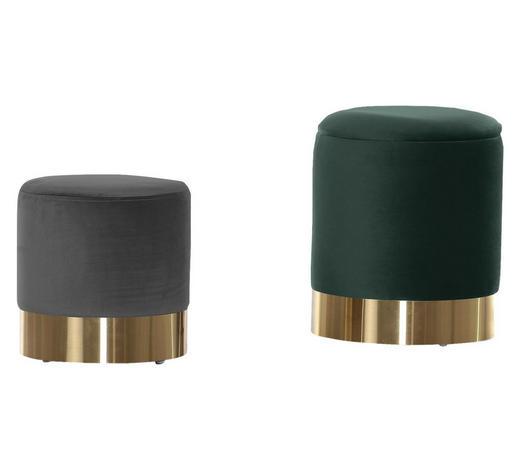 HOCKERSET Grau, Dunkelgrün  - Dunkelgrün/Goldfarben, Trend, Textil/Metall (30/34/30/40cm) - Carryhome