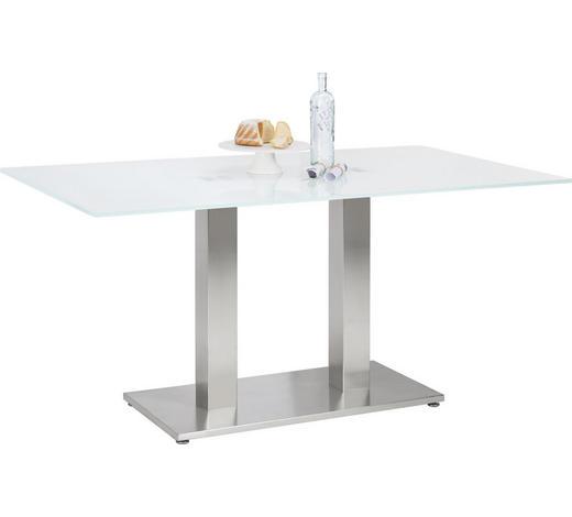 ESSTISCH in Metall, Glas 160/90/77 cm   - Edelstahlfarben/Weiß, Design, Glas/Metall (160/90/77cm) - Dieter Knoll