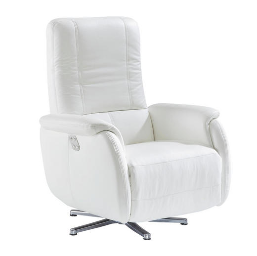 RELAXSESSEL Echtleder - Chromfarben/Weiß, Design, Leder/Metall (80/109/88cm) - Beldomo Premium