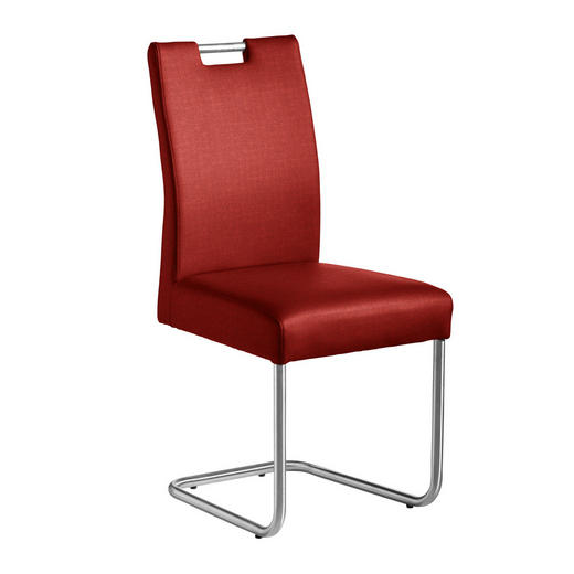 SCHWINGSTUHL Webstoff Edelstahlfarben, Rot - Edelstahlfarben/Rot, Design, Textil/Metall (48/99/69cm) - Valnatura