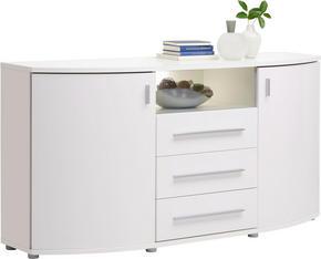 SIDEBOARD - vit/kromfärg, Design, glas/träbaserade material (170/84/44cm) - Hom`in