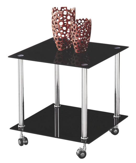 BEISTELLTISCH quadratisch Edelstahlfarben, Schwarz - Edelstahlfarben/Schwarz, Design, Glas/Kunststoff (45/46/45cm) - Boxxx