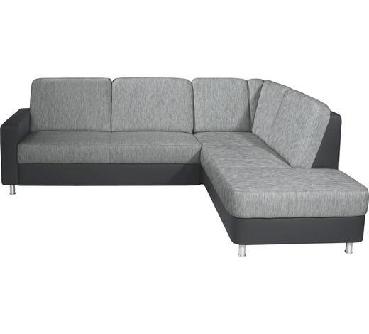 WOHNLANDSCHAFT Grau, Schwarz Lederlook, Webstoff  - Schwarz/Alufarben, KONVENTIONELL, Textil/Metall (245/200cm) - Livetastic