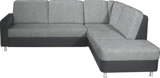 WOHNLANDSCHAFT Lederlook, Webstoff - Schwarz/Alufarben, KONVENTIONELL, Textil/Metall (245/200cm) - Xora