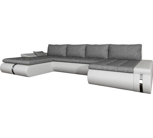 WOHNLANDSCHAFT Weiß, Hellgrau Webstoff  - Hellgrau/Schwarz, KONVENTIONELL, Kunststoff/Textil (216/385/164cm) - Carryhome