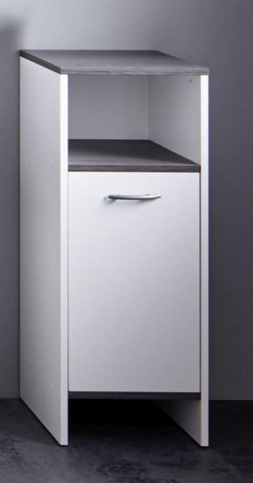 SEITENSCHRANK Grau, Weiß - Silberfarben/Weiß, Design, Holzwerkstoff/Kunststoff (32/82/28cm) - Xora