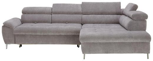 WOHNLANDSCHAFT in Textil Hellgrau - Chromfarben/Hellgrau, Design, Textil/Metall (290/215cm) - Welnova