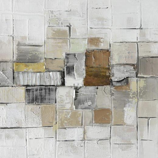 Strukturen ÖLGEMÄLDE - Multicolor, Design, Holz/Textil (55/55cm) - Monee