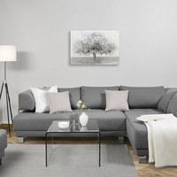 Bäume ÖLGEMÄLDE - Weiß/Grau, LIFESTYLE, Holz/Textil (70/100cm) - Monee