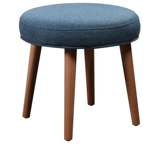 HOCKER in Holz, Textil Blau, Naturfarben, Türkis - Türkis/Blau, Design, Holz/Textil (39/35cm) - Carryhome