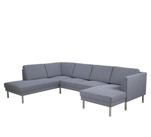 WOHNLANDSCHAFT in Textil Hellgrau - Hellgrau/Nickelfarben, KONVENTIONELL, Textil/Metall (213/308/142cm) - Carryhome