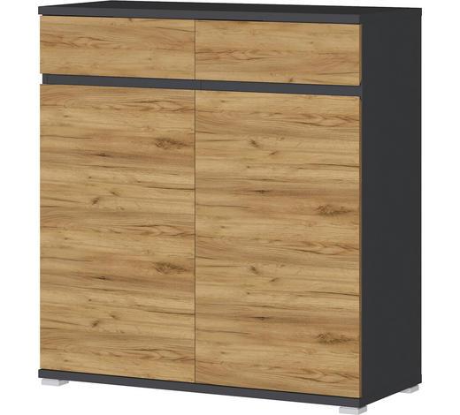 SCHUHSCHRANK Anthrazit, Eichefarben  - Eichefarben/Anthrazit, Basics, Holzwerkstoff/Kunststoff (96/103/40cm)