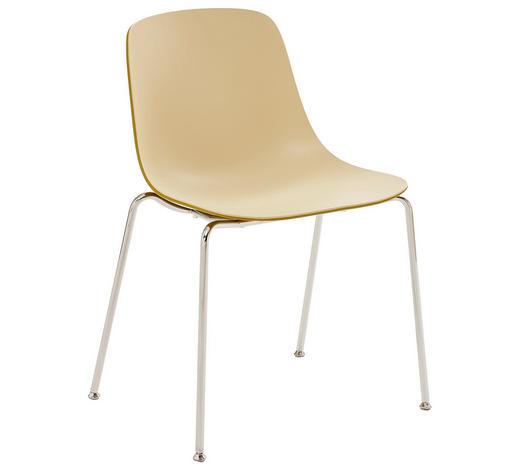 Stuhl in Metall, Kunststoff Creme, Chromfarben, Currygelb  - Chromfarben/Currygelb, Design, Kunststoff/Metall (59,5/81,5/55cm)