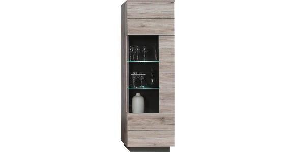 VITRINE Eichefarben, Grau, Sandfarben - Sandfarben/Eichefarben, Design, Glas/Holzwerkstoff (60,2/200,9/41,3cm) - Hom`in