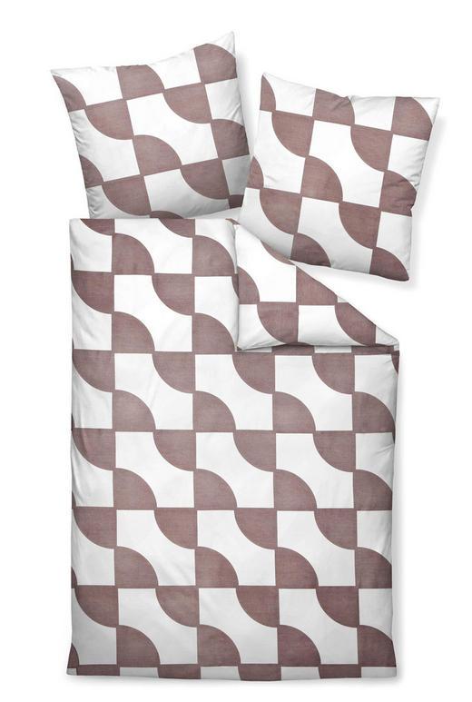 BETTWÄSCHE Makosatin Taupe, Weiß 155/220 cm - Taupe/Weiß, Basics, Textil (155/220cm) - Janine
