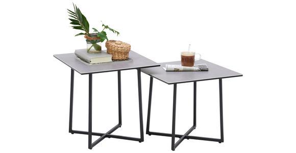 COUCHTISCHSET in Metall, Glas, Keramik 45/45/45/45/45/40 cm   - Hellgrau/Schwarz, Design, Glas/Keramik (45/45/45/45/45/40cm) - Hom`in
