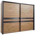 SCHWEBETÜRENSCHRANK 2-türig Grau, Eichefarben  - Eichefarben/Grau, Design, Holzwerkstoff/Metall (270/211/61cm) - Hom`in
