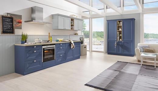 Einbauküche blau eichefarben design nolte küchen