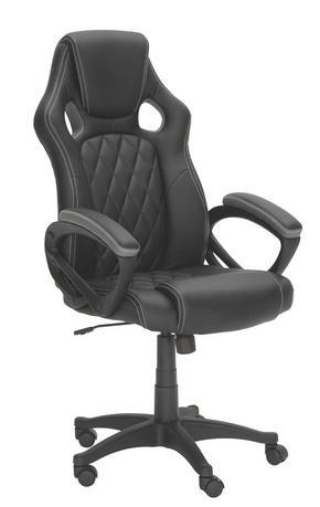 GAMINGSTOL - vit/svart, Design, textil/plast (63/113-122/70cm) - Xora
