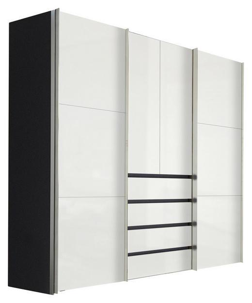 KLEIDERSCHRANK 4-türig Graphitfarben, Weiß - Graphitfarben/Alufarben, Design, Holzwerkstoff/Metall (250/216/68cm) - Hom`in