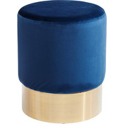 HOCKER Samt Blau, Messingfarben - Blau/Messingfarben, Trend, Textil/Metall (35/42cm) - Kare-Design