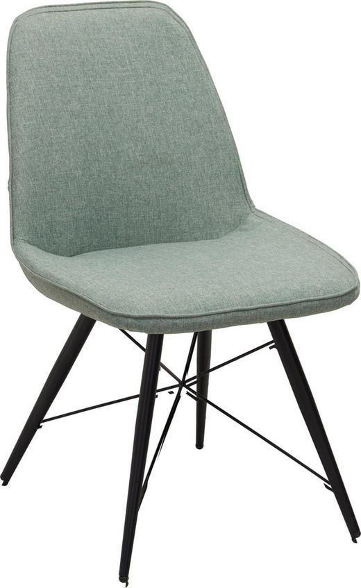 STUHL in Metall, Textil Grün, Schwarz - Schwarz/Grün, Design, Textil/Metall (60/86/58cm) - Carryhome