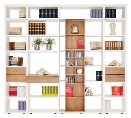 OBÝVACÍ STĚNA, bílá, barvy ořechu - bílá/černá, Konvenční, kompozitní dřevo/umělá hmota (280/248/40cm)