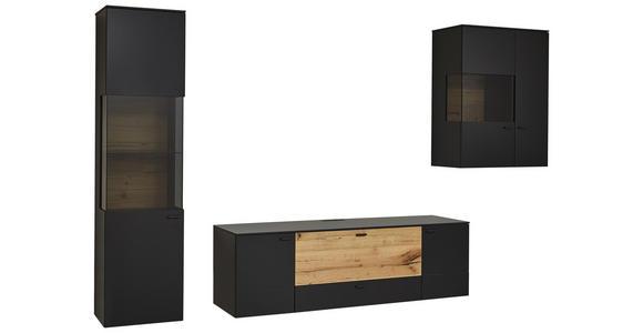 WOHNWAND in Anthrazit, Eichefarben  - Eichefarben/Anthrazit, Design, Glas/Holz (308,8/196,8/49,2cm) - Dieter Knoll