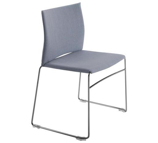 STUHL in Metall, Textil Grau, Chromfarben - Chromfarben/Grau, Design, Textil/Metall (56,5/82,5/54cm)
