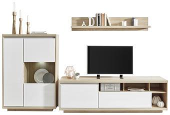 OBÝVACÍ STĚNA, barvy dubu, bílá - bílá/barvy dubu, Design, dřevěný materiál/sklo (280/180/48cm) - Ti`me