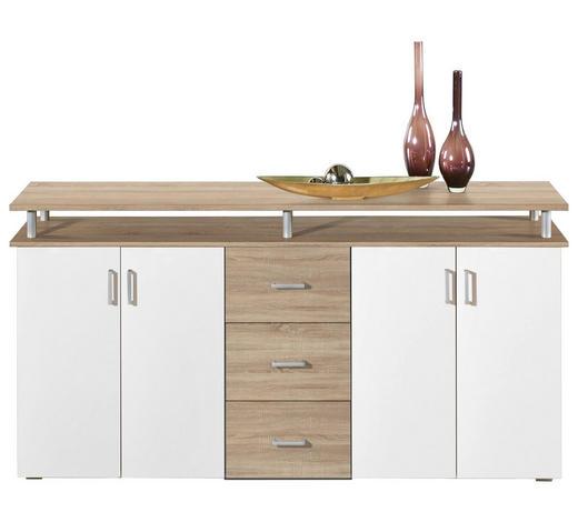 KOMMODE Weiß, Sonoma Eiche  - Silberfarben/Alufarben, Basics, Holz/Kunststoff (180/90/40cm) - Boxxx