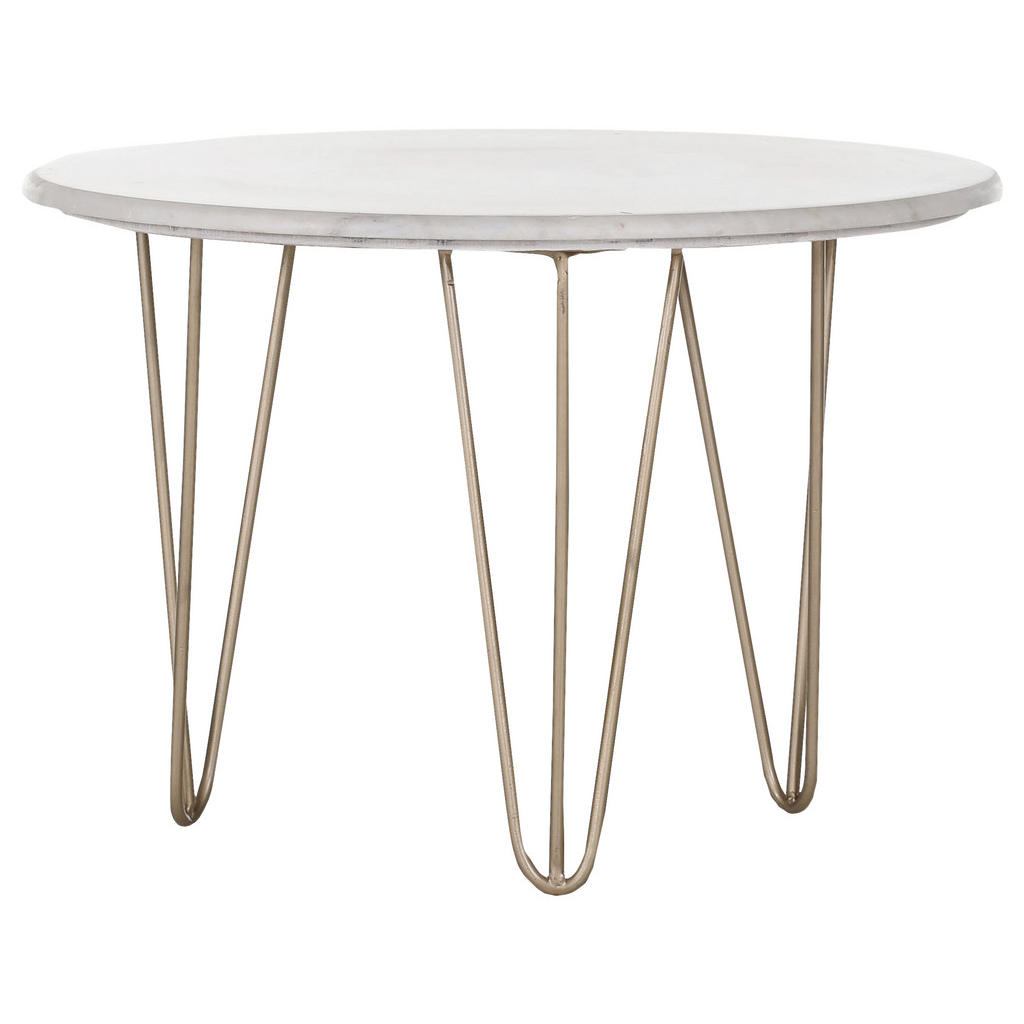 Landscape Couchtisch , Weiß, Gold , Metall, Stein , rund , Haarnadel , 65x45 cm , Wohnzimmer, Wohnzimmertische, Couchtische