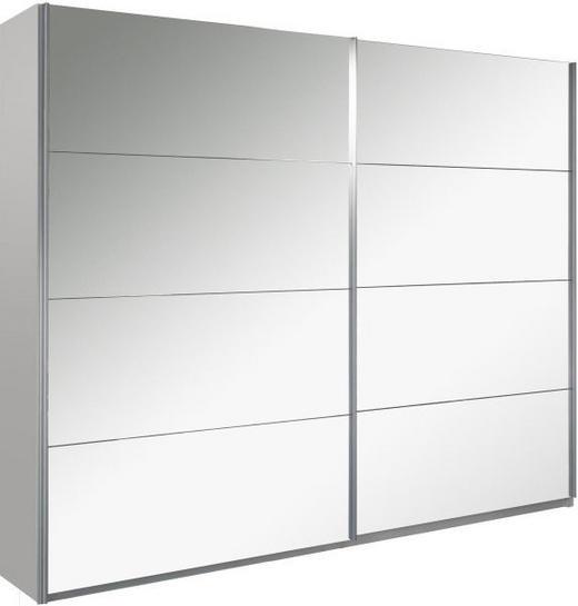 SCHWEBETÜRENSCHRANK 2-türig Weiß - Alufarben/Weiß, Design, Glas/Holzwerkstoff (270/222/69cm) - Carryhome