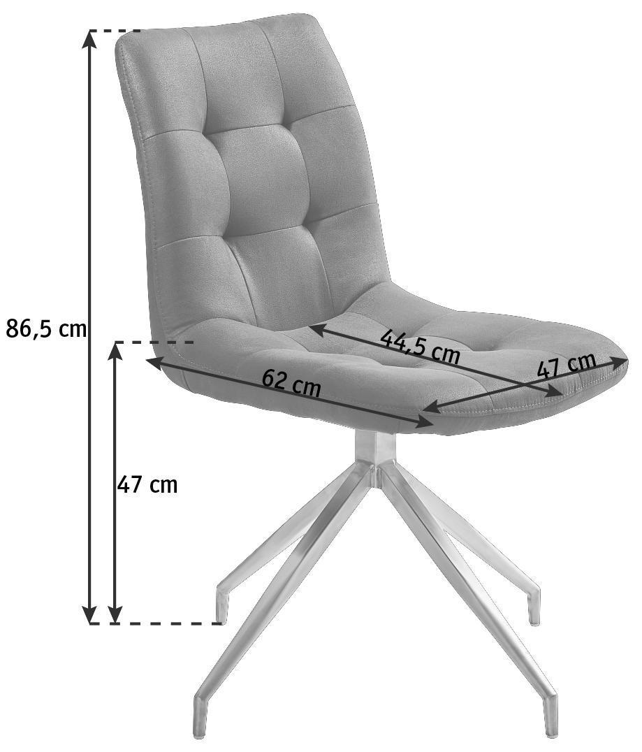 STOL - mörkgrå/rostfritt stål-färgad, Design, metall/textil (47/86,5/62cm) - Xora