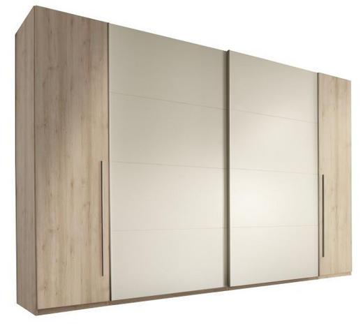 SCHWEBETÜRENSCHRANK 4-türig Weiß, Buchefarben  - Buchefarben/Alufarben, Design, Holzwerkstoff/Kunststoff (315/225/61cm) - Carryhome