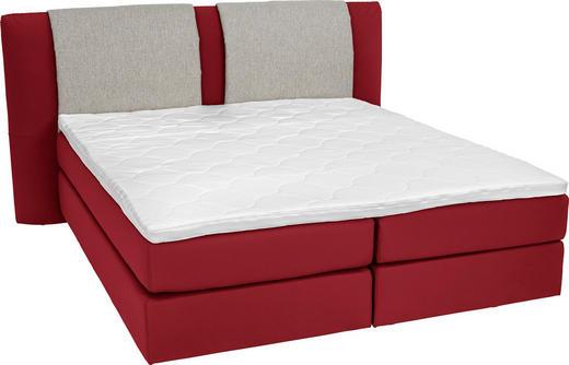 BOXSPRINGBETT  in Grau, Rot - Rot/Alufarben, KONVENTIONELL, Kunststoff/Textil (180/200/cm) - Bentley