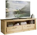 TV-ELEMENT Kiefer massiv Kieferfarben  - Schwarz/Kieferfarben, Natur, Holz/Metall (154/52/52,3cm) - Linea Natura
