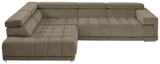 WOHNLANDSCHAFT in Textil Grau, Greige - Chromfarben/Greige, Design, Textil/Metall (222/323cm) - Beldomo Style