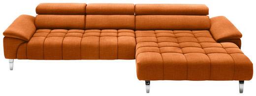 WOHNLANDSCHAFT in Textil Orange - Chromfarben/Orange, Design, Textil/Metall (329/190cm) - Beldomo Style