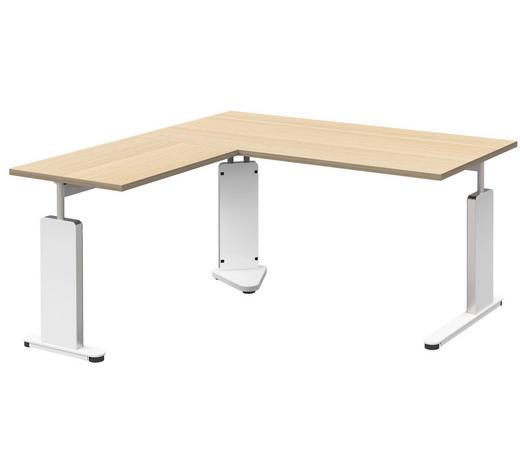ECKSCHREIBTISCH in Metall, Holzwerkstoff 160/68-82/160 cm  - Eichefarben/Weiß, Design, Holzwerkstoff/Metall (160/68-82/160cm)