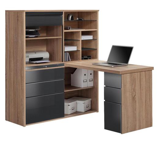 MINI-OFFICE Schreibtisch seitenverkehrt montierbar Grau, Eichefarben - Eichefarben/Grau, KONVENTIONELL, Glas (126,6/150/187cm) - Carryhome