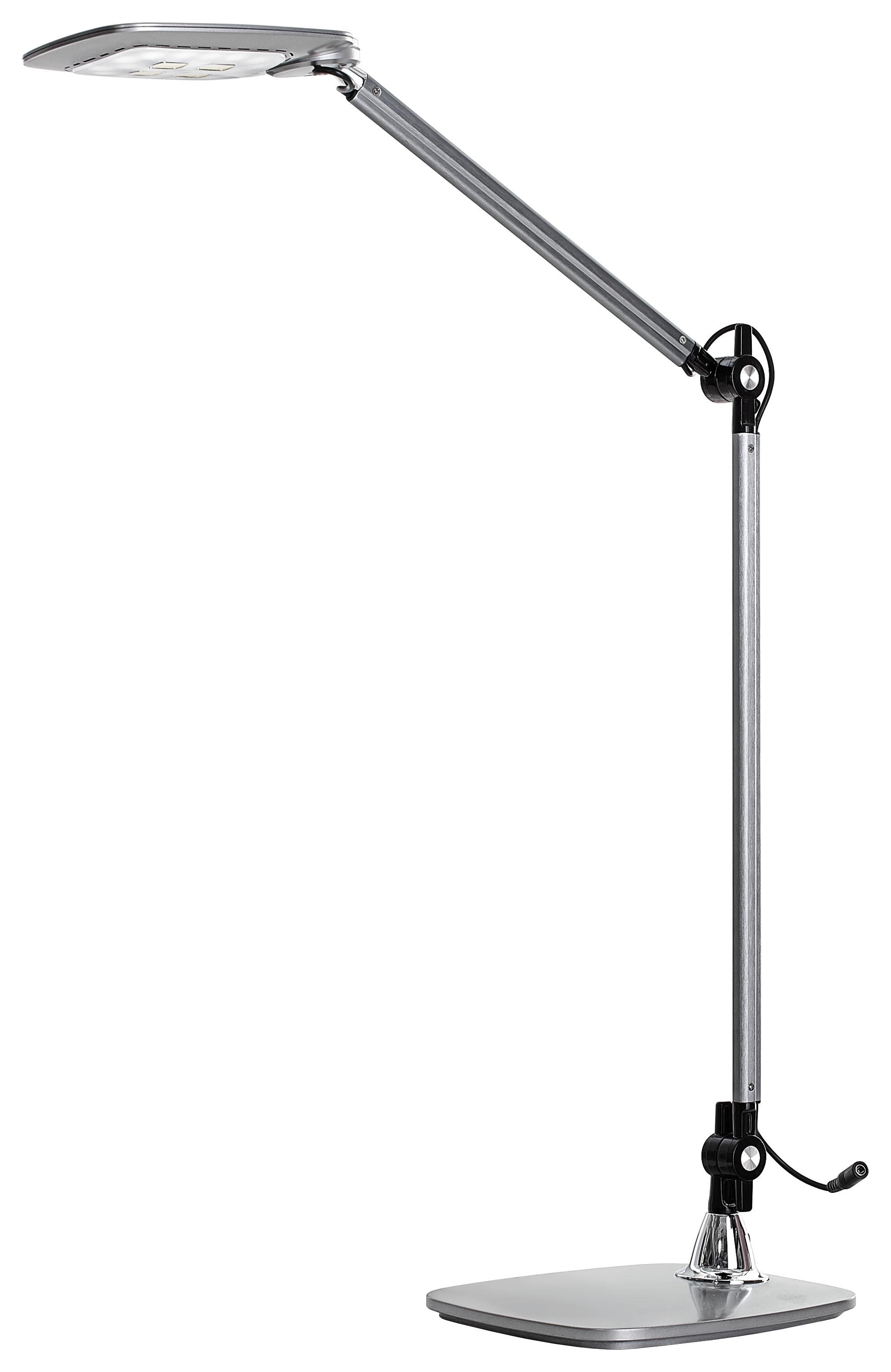 LED-SKRIVBORDSLAMPA - silver, Design, metall/plast (25,5/18,5/49,5cm) - Novel