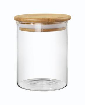 FÖRVARINGSBURK - klar/ljusbrun, Basics, trä/glas (9,5/18cm) - Homeware