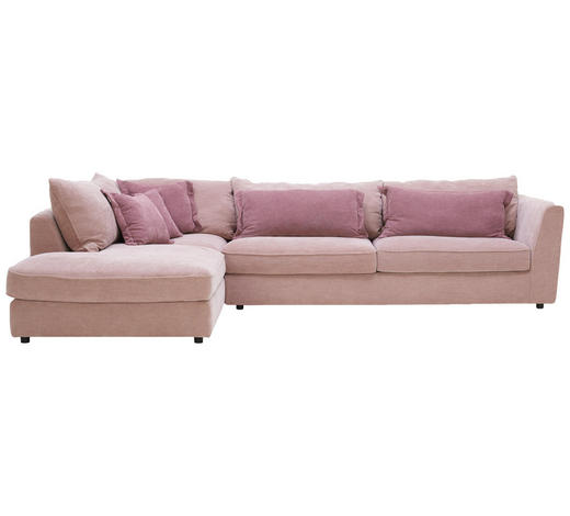 WOHNLANDSCHAFT in Textil Rosa, Altrosa - Altrosa/Schwarz, ROMANTIK / LANDHAUS, Kunststoff/Textil (225/329cm) - Valnatura
